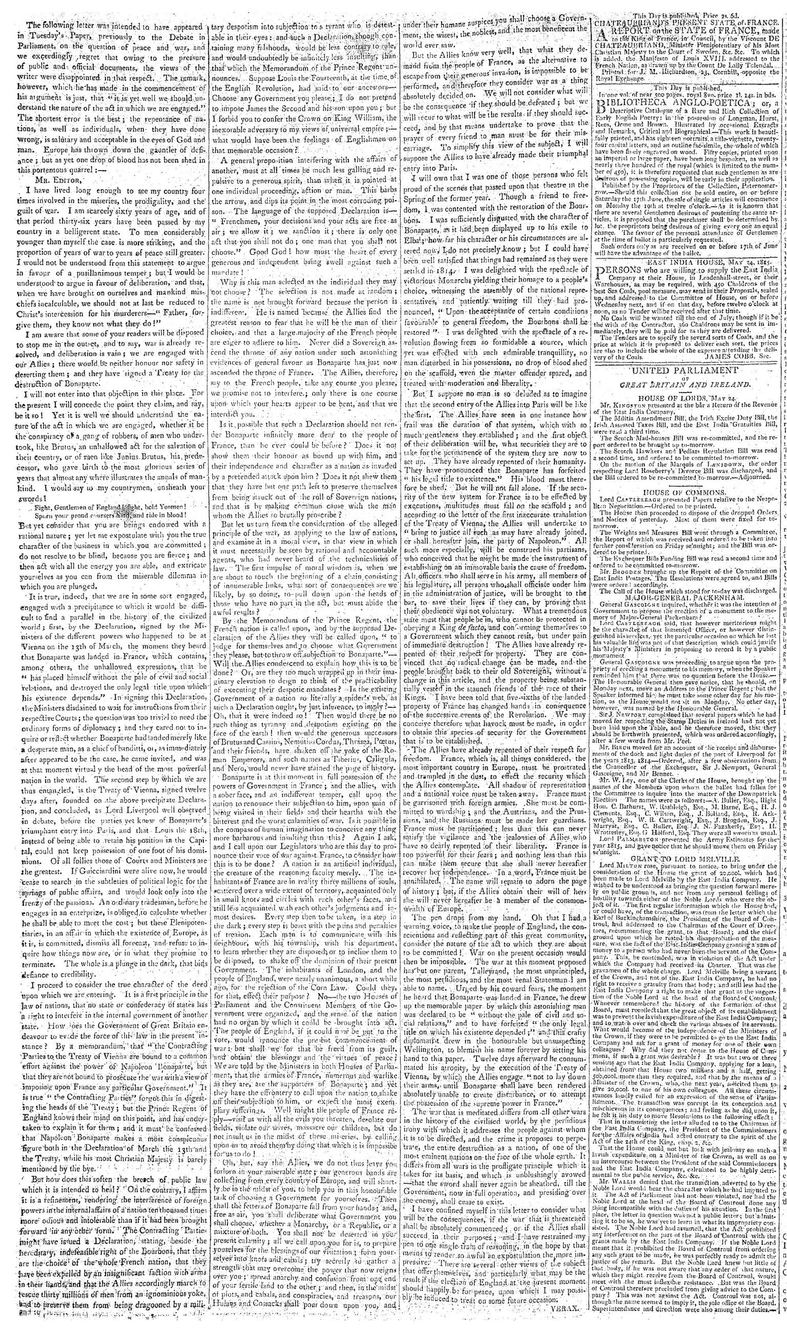 Letters of Verax Morning Chronicle Thursday, May 25, 1815 RESIZED.jpeg